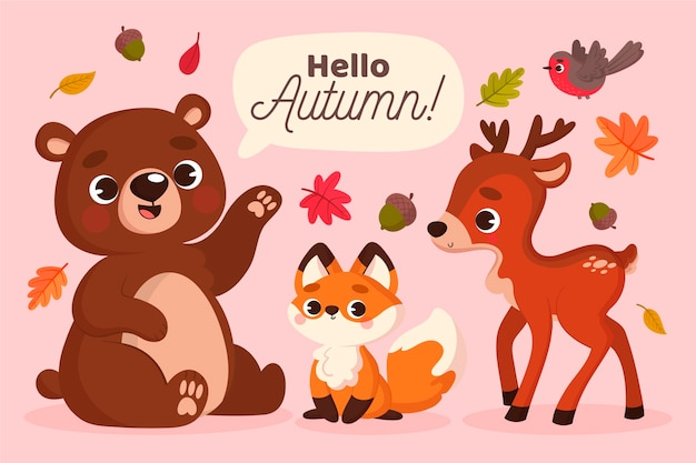 Autumn forest animals in flat design