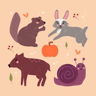 Concetto disegnato a mano degli animali della foresta di autunno