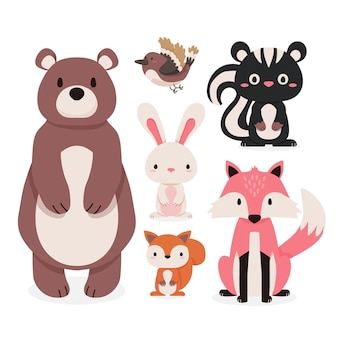 秋の森の動物の手描きのコンセプト