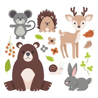 가을 숲 동물 손으로 그린 디자인