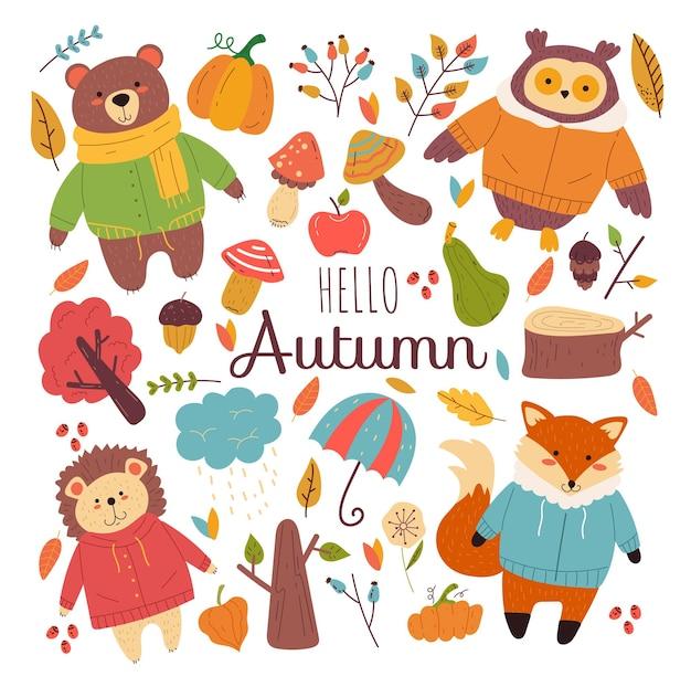 가을 숲 동물 손으로 그린 낙서 현대적인 스타일의 디자인 요소 격리 세트
