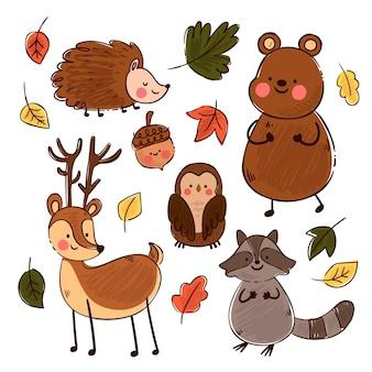 가을 숲 동물 손으로 그린 테마