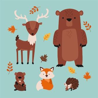 Animali della foresta d'autunno disegnati a mano