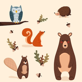 Pack di animali della foresta d'autunno