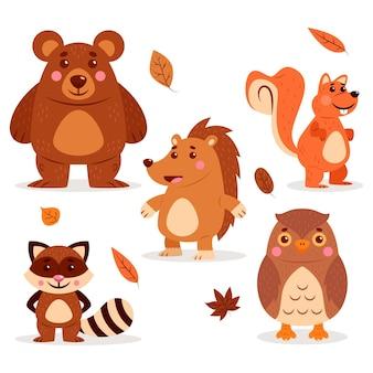 Autumn forest animals set