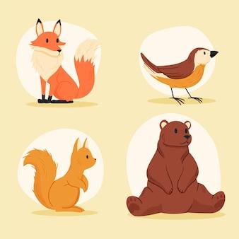 Set di animali della foresta d'autunno