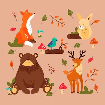 Autumn forest animals set