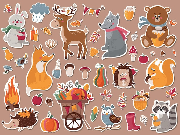 Autumn forest animals stickers collection