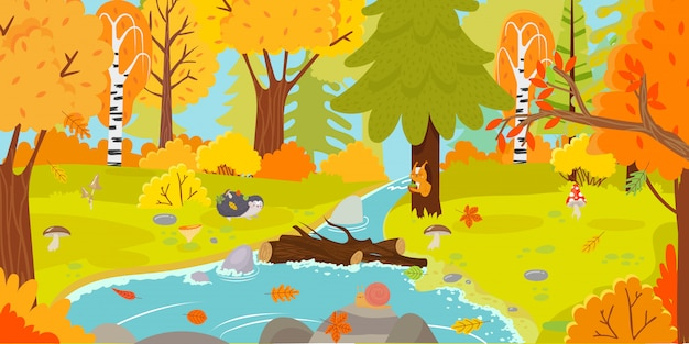 가을 숲. 단풍 자연 풍경, 노란 숲 나무와 숲 가을 단풍 만화 일러스트 레이션