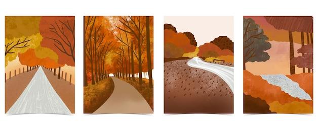 木、葉、空、道路と秋の森の背景