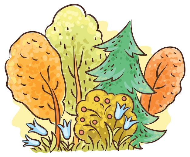 Autumn forest cartoon drawing