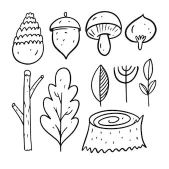 Элементы осеннего леса. стиль рисования каракули. мультфильм раскраски линии искусства. векторная иллюстрация. изолированные на белом фоне.
