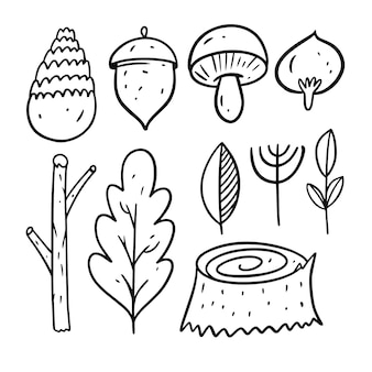 Autumn forest elements. doodle draw style. cartoon coloring line art. vector illustration. isolated on white background.