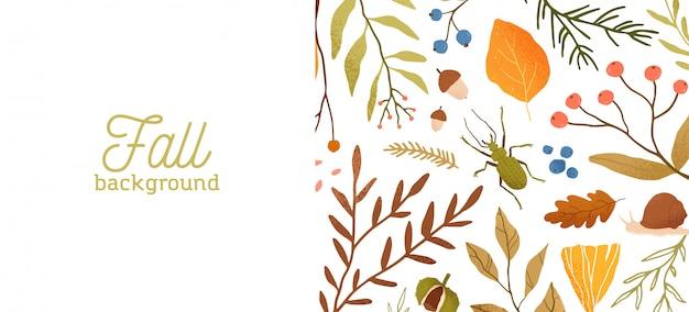 秋の森の動植物のフラットの図。装飾的な秋をテーマにした背景の植物の概念。タイポグラフィと季節の自然バナーデザイン。木の葉、枝、昆虫。