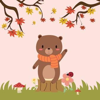 かわいいクマのベクトルの秋の森