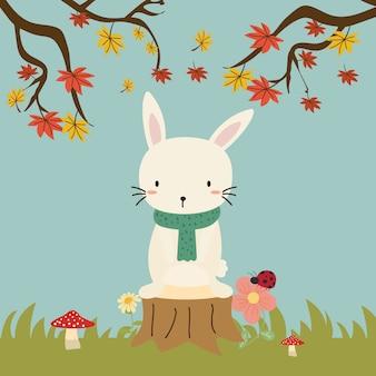 かわいいウサギのベクトルの秋の森