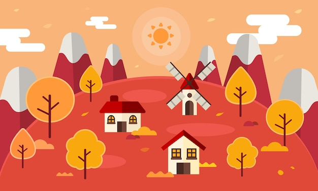 Autumn forest landscape background with autumn leaves