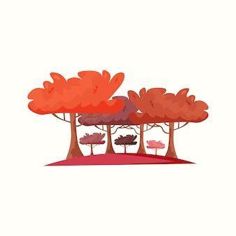 木の秋の森。フラットスタイルのベクトル図