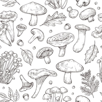 Осенний лесной образец. эскиз грибы, лесные ягоды листья фон. винтажные ботанические урожай вектор бесшовные текстуры. лесные органические грибы шампиньоны и подберезовики иллюстрация