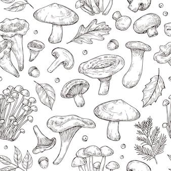 Autumn forest pattern. sketch mushrooms, forest food berries leaves background. vintage botanical harvest vector seamless texture. forest organic mushroom champignon and boletus illustration