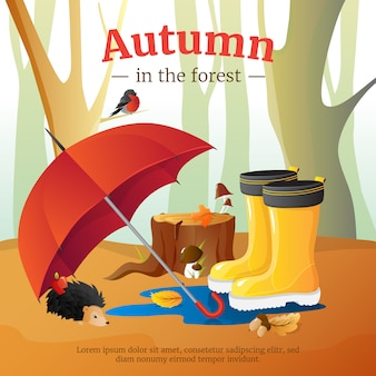Autumn in forest poster with red umbrella