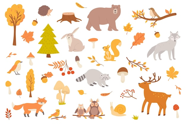 Autumn forest with animal isolated objects set collection of fall trees and leaves mushrooms bear