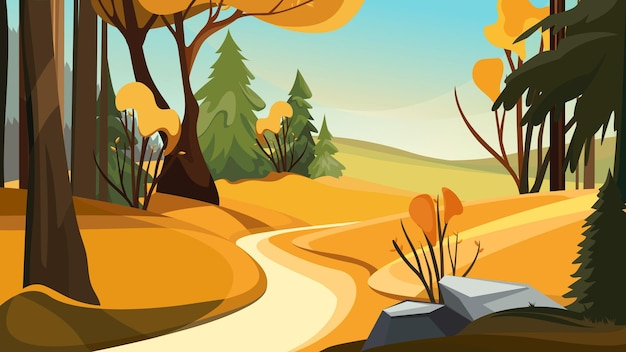 さまざまな木々のある秋の森。美しい自然の風景。