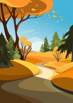 さまざまな木々のある秋の森。垂直方向の自然景観。