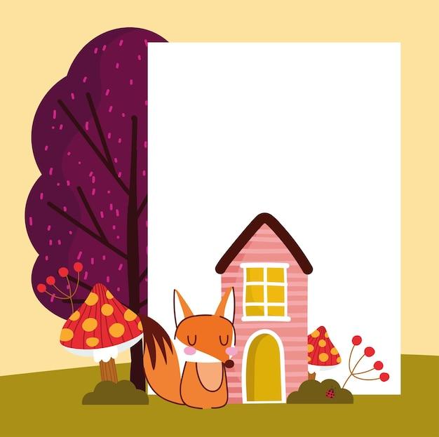 Autumn fox and placard