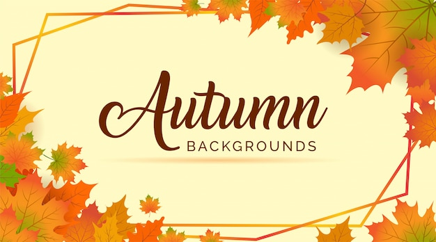 Autumn frame, autumn leaves background