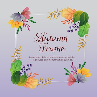 Autumn frame and decoration with colored leaves illustration