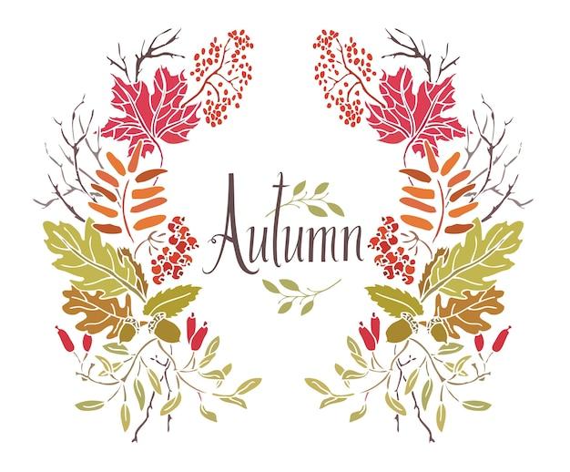 葉と小枝の秋のフレーム