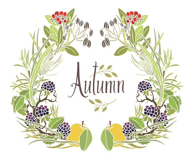 Осенняя рамка из листьев, веток и яблок