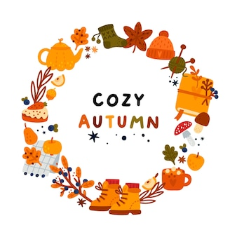 Autumn frame with hand drawn elements autumn wreath for cozy atmosphere ideal for banner card
