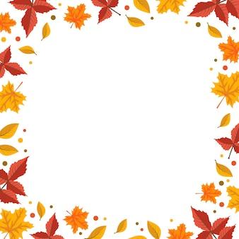 オレンジ色のカエデとナナカマドの秋のフレームは、テキスト用の空白スペースと明るい秋の境界線を残します