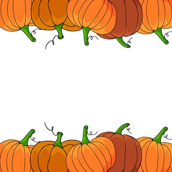 Autumn frame with pumpkins isolated on transparent background. vector illustration.