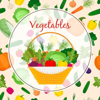Autumn fresh vegetable in basket