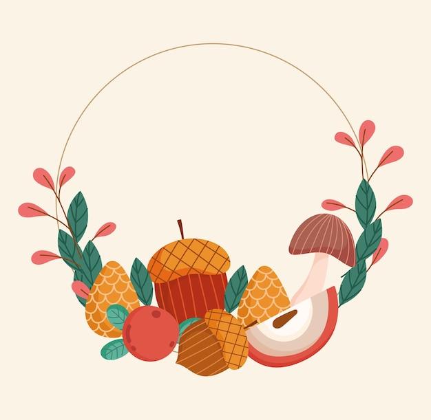 가을 과일과 도토리