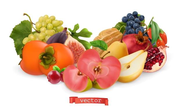 秋の果物とベリーのイラストセット