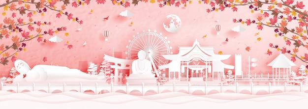 Autumn in fukuoka, japan with falling maple leaves in paper cut style vector illustration