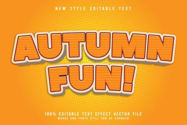 Осенние забавные редактируемые текстовые эффекты с тиснением в мультяшном стиле