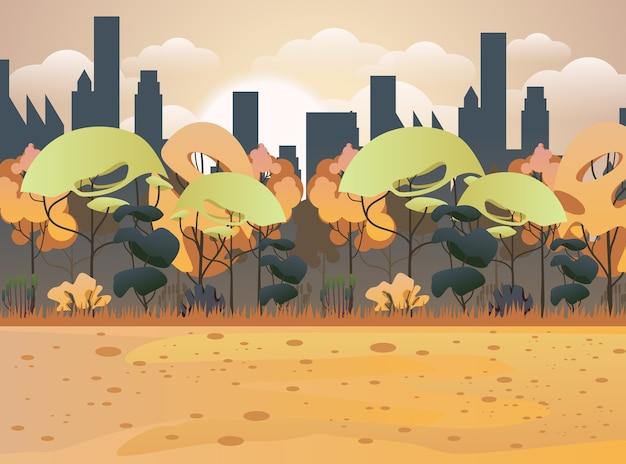 Осенний сад. городской пейзаж заднего двора в осенний сезон