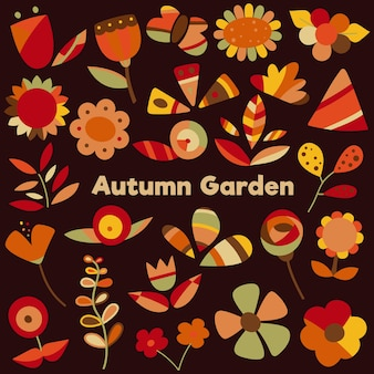 Autumn garden flowers and leaves clipart set
