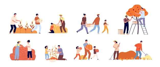Autumn gathering. farmer people, flat harvesting gardeners. young man planting. harvest season, woman working agriculture vector set. autumn agriculture, woman harvest, farmer gather illustration