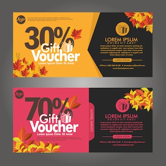 Autumn gift voucher discount cards template