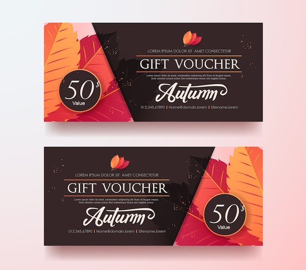 Autumn gift voucher discount template with colorful pattern