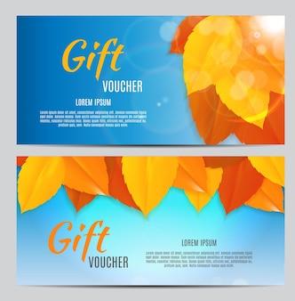 あなたのビジネスのための秋のギフト券テンプレートベクトルイラストeps10