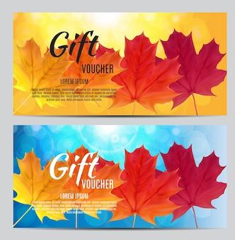 Осенний подарочный сертификат шаблон векторные иллюстрации для вашего бизнеса eps10