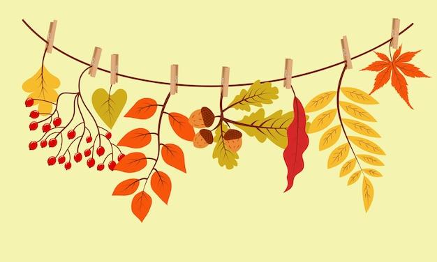 Осенние подарки висят на веревке, прикрепленной прищепкой. векторная иллюстрация.