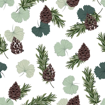 Autumn ginkgo leaves and pine nuts seamless pattern